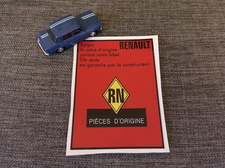 Autocollant piece origine renault 8